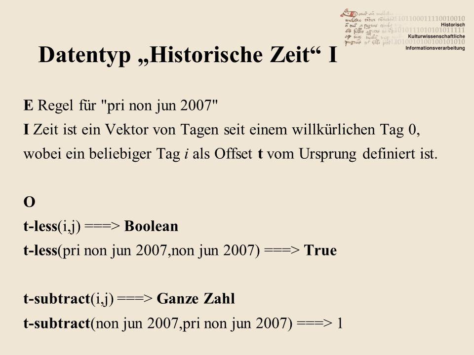 E Regel für pri non jun 2007 I Zeit ist ein Vektor von Tagen seit einem willkürlichen Tag 0, wobei ein beliebiger Tag i als Offset t vom Ursprung definiert ist.