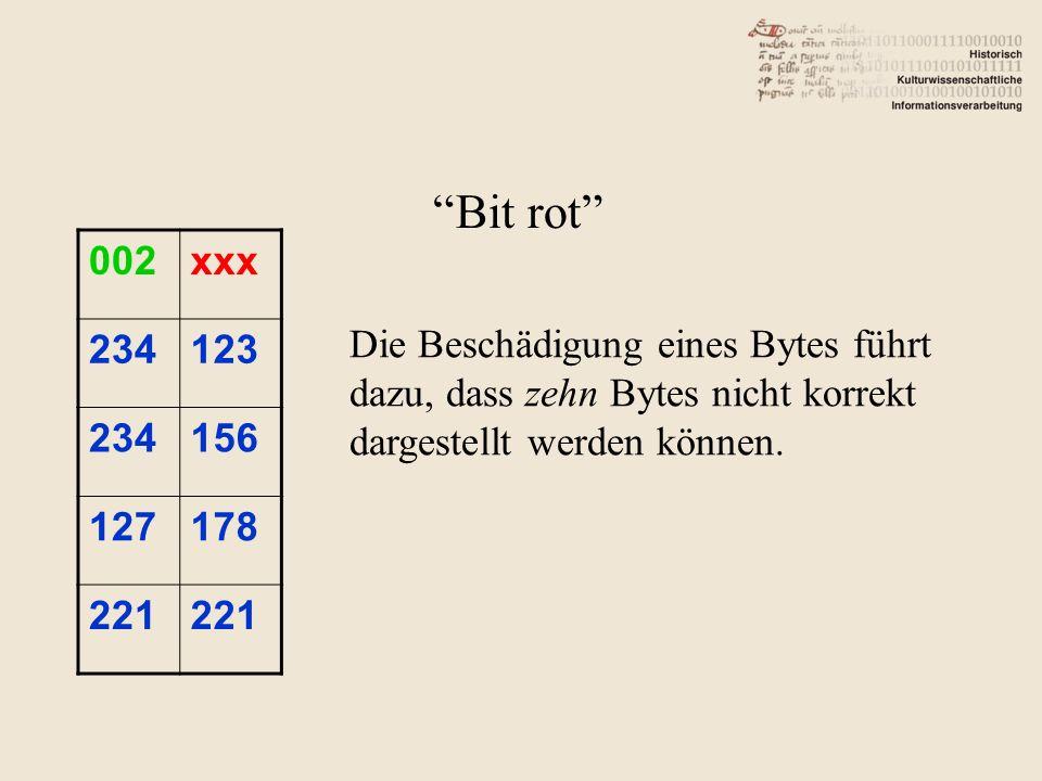 002xxx 234123 234156 127178 221 Bit rot Die Beschädigung eines Bytes führt dazu, dass zehn Bytes nicht korrekt dargestellt werden können.