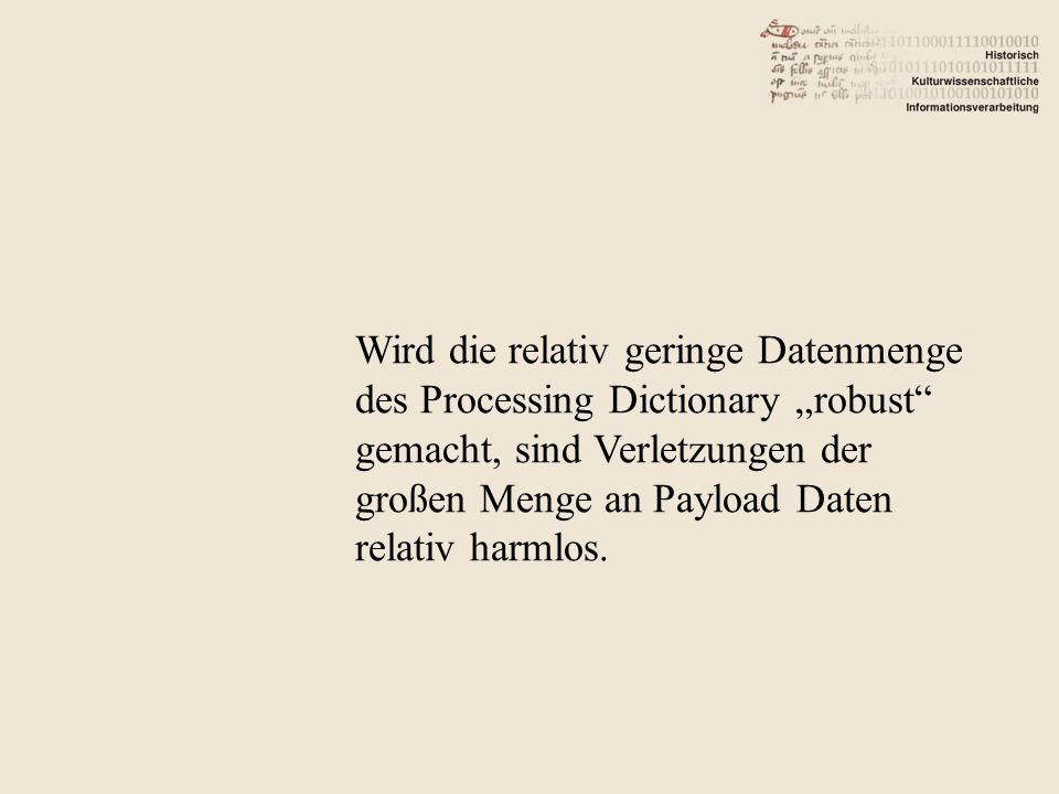 Wird die relativ geringe Datenmenge des Processing Dictionary robust gemacht, sind Verletzungen der großen Menge an Payload Daten relativ harmlos.
