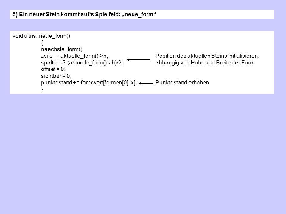void ultris::neue_form() { naechste_form(); zeile = -aktuelle_form()->h;Position des aktuellen Steins initialisieren: spalte = 5-(aktuelle_form()->b)/2;abhängig von Höhe und Breite der Form offset = 0; sichtbar = 0; punktestand += formwert[formen[0].ix];Punktestand erhöhen } 5) Ein neuer Stein kommt aufs Spielfeld: neue_form