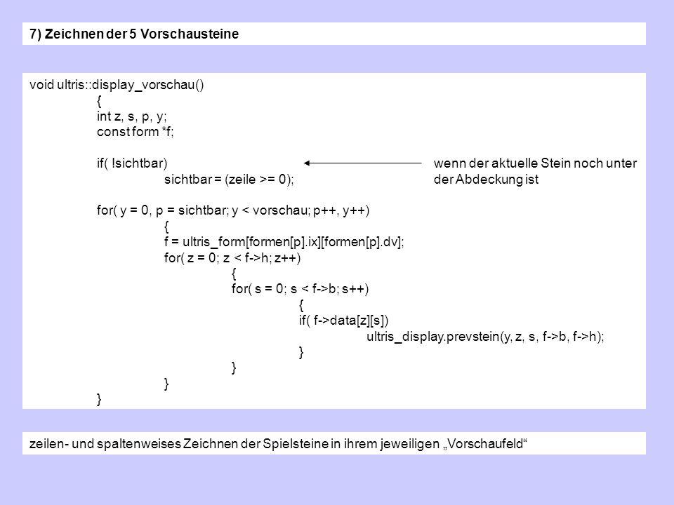 void ultris::display_vorschau() { int z, s, p, y; const form *f; if( !sichtbar)wenn der aktuelle Stein noch unter sichtbar = (zeile >= 0);der Abdeckung ist for( y = 0, p = sichtbar; y < vorschau; p++, y++) { f = ultris_form[formen[p].ix][formen[p].dv]; for( z = 0; z h; z++) { for( s = 0; s b; s++) { if( f->data[z][s]) ultris_display.prevstein(y, z, s, f->b, f->h); } 7) Zeichnen der 5 Vorschausteine zeilen- und spaltenweises Zeichnen der Spielsteine in ihrem jeweiligen Vorschaufeld