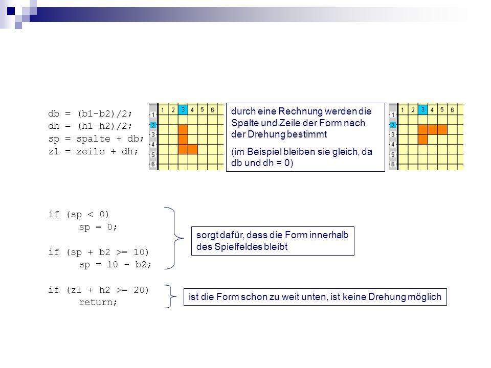 db = (b1-b2)/2; dh = (h1-h2)/2; sp = spalte + db; zl = zeile + dh; if (sp < 0) sp = 0; if (sp + b2 >= 10) sp = 10 - b2; if (zl + h2 >= 20) return; dur