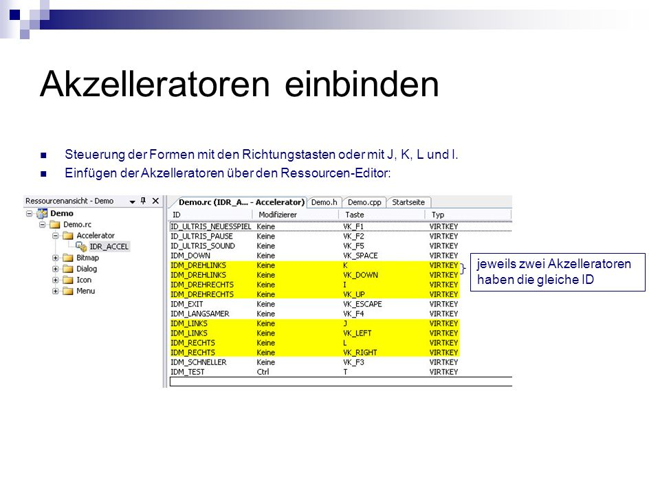 Einbindung in die Benutzerschnittstelle LRESULT CALLBACK ultris_windowhandler(...) { switch (msg) { case WM_COMMAND: switch (LOWORD(wParam)) {...