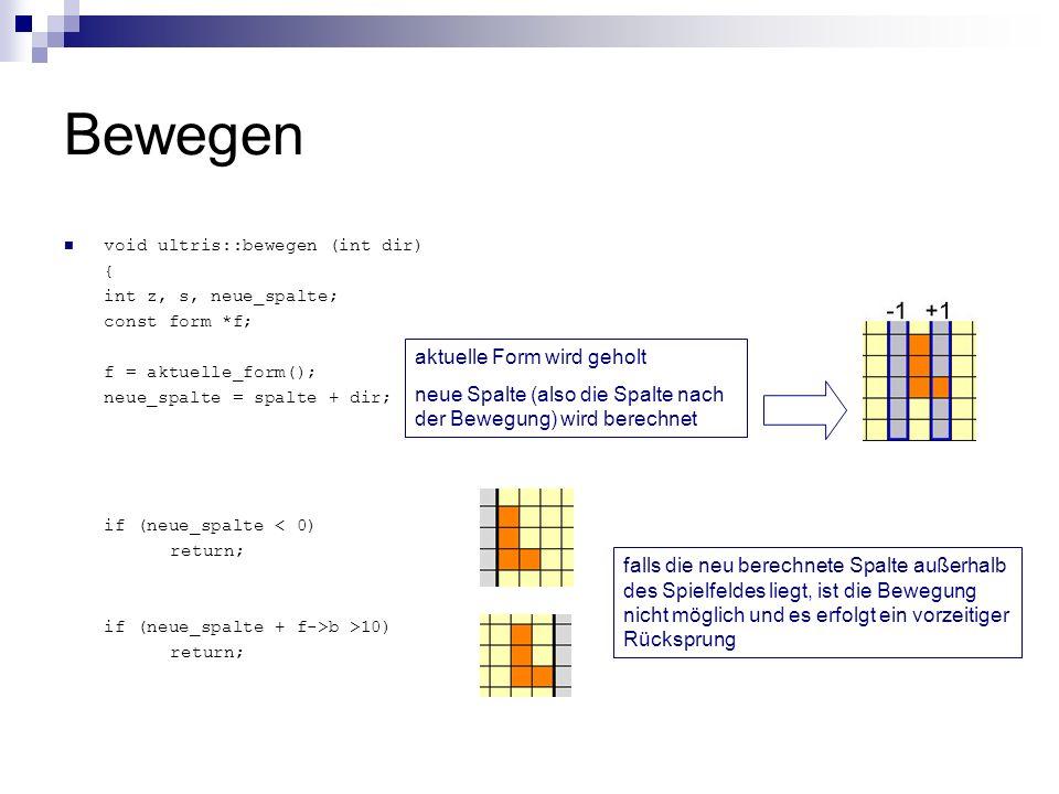 Bewegen void ultris::bewegen (int dir) { int z, s, neue_spalte; const form *f; f = aktuelle_form(); neue_spalte = spalte + dir; if (neue_spalte < 0) r