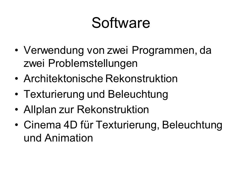 Software Verwendung von zwei Programmen, da zwei Problemstellungen Architektonische Rekonstruktion Texturierung und Beleuchtung Allplan zur Rekonstruktion Cinema 4D für Texturierung, Beleuchtung und Animation