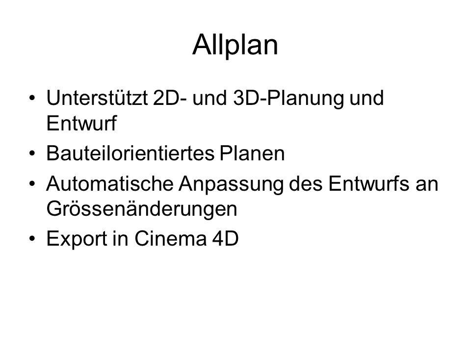 Allplan Unterstützt 2D- und 3D-Planung und Entwurf Bauteilorientiertes Planen Automatische Anpassung des Entwurfs an Grössenänderungen Export in Cinem