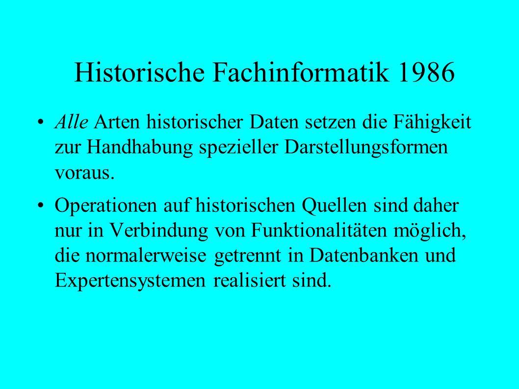Historische Fachinformatik 1986 Alle Arten historischer Daten setzen die Fähigkeit zur Handhabung spezieller Darstellungsformen voraus.