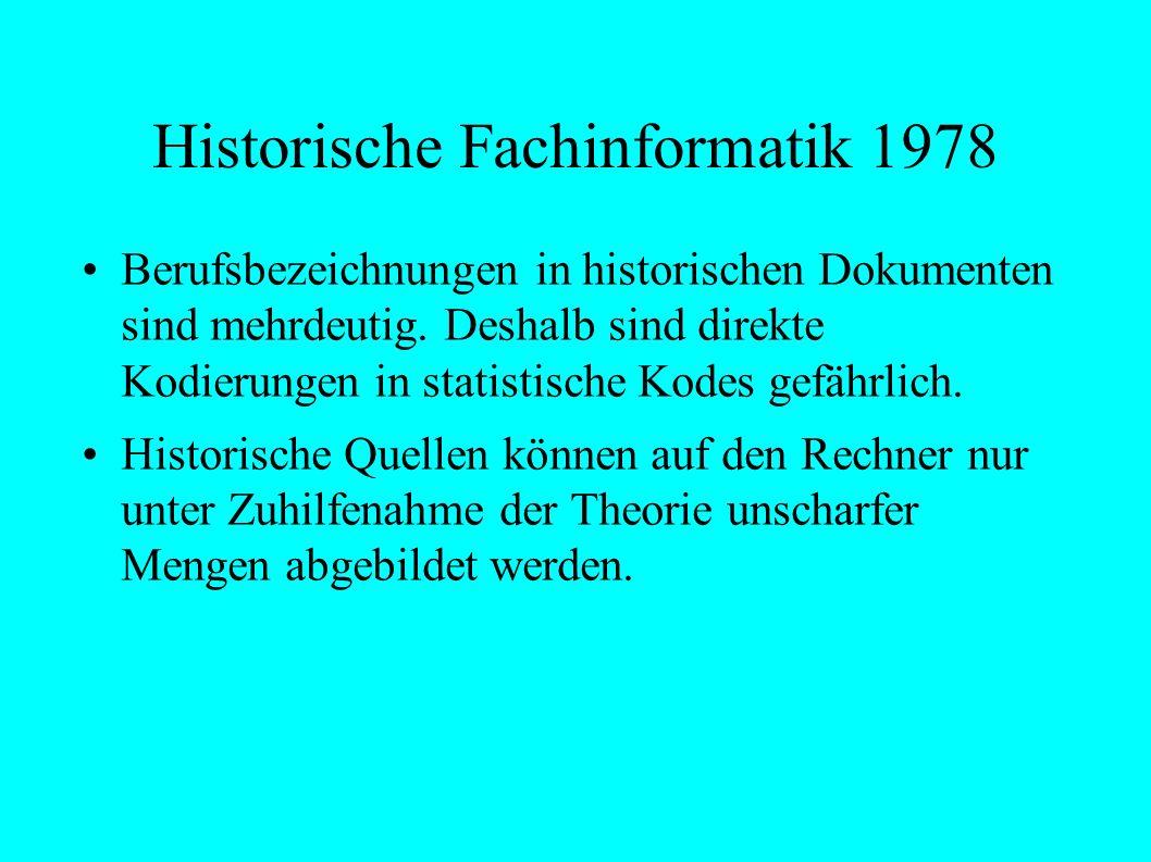 Historische Fachinformatik 1978 Berufsbezeichnungen in historischen Dokumenten sind mehrdeutig.