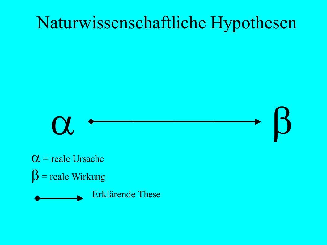 Naturwissenschaftliche Hypothesen = reale Ursache = reale Wirkung E Erklärende These