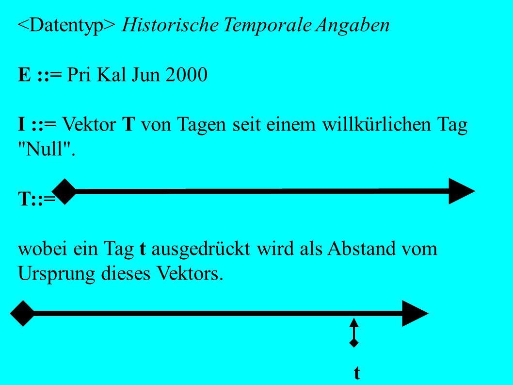 Historische Temporale Angaben E ::= Pri Kal Jun 2000 I ::= Vektor T von Tagen seit einem willkürlichen Tag Null .