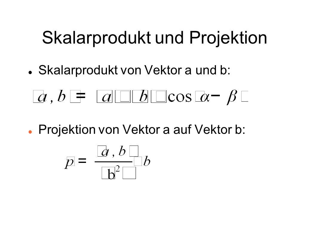 Skalarprodukt und Projektion Skalarprodukt von Vektor a und b: Projektion von Vektor a auf Vektor b:
