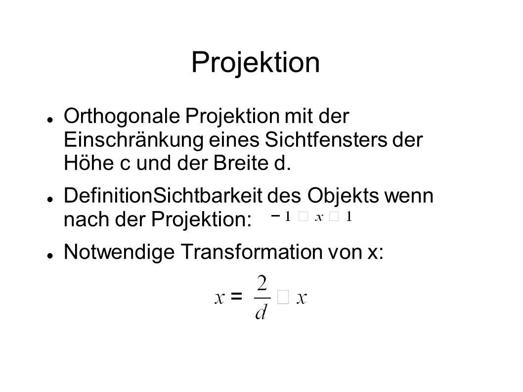 Projektion Orthogonale Projektion mit der Einschränkung eines Sichtfensters der Höhe c und der Breite d. DefinitionSichtbarkeit des Objekts wenn nach