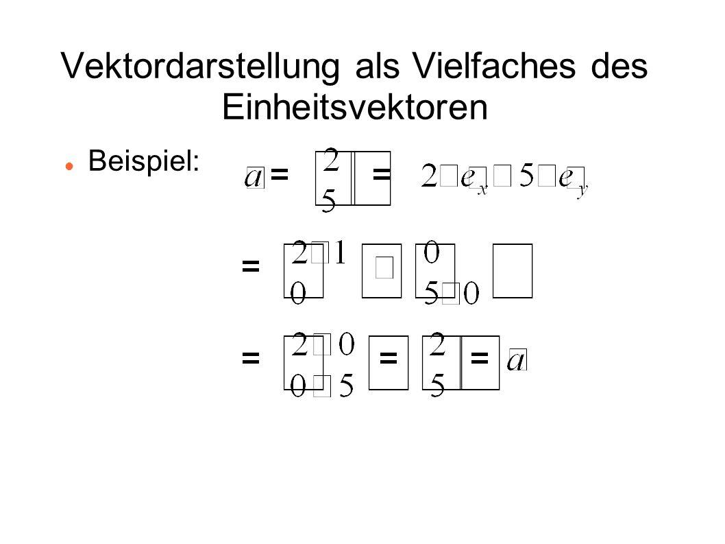 Vektordarstellung als Vielfaches des Einheitsvektoren Beispiel: