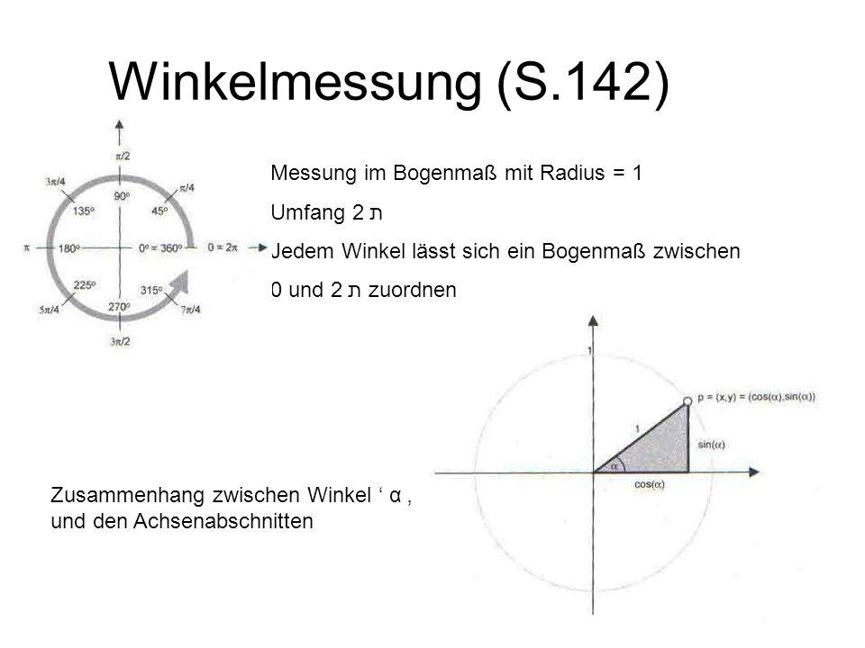 Winkelmessung (S.142) Messung im Bogenmaß mit Radius = 1 Umfang 2 ת Jedem Winkel lässt sich ein Bogenmaß zwischen 0 und 2 ת zuordnen Zusammenhang zwis