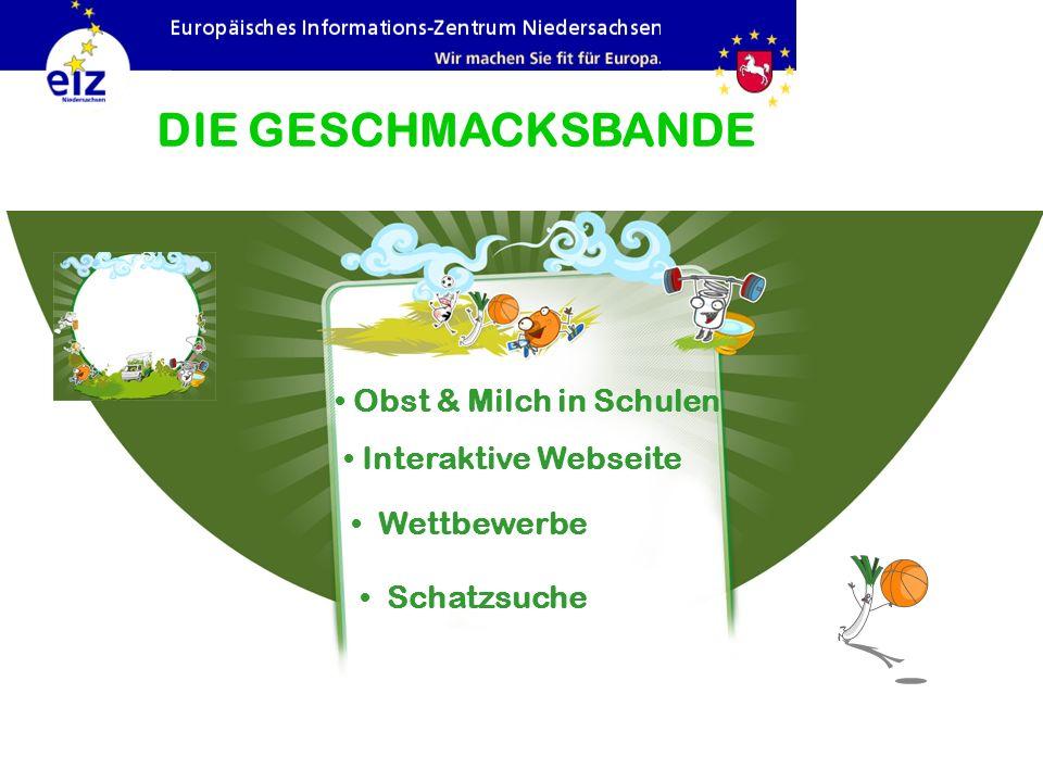 Interaktive Webseite DIE GESCHMACKSBANDE Wettbewerbe Schatzsuche Obst & Milch in Schulen
