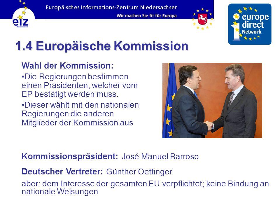Wahl der Kommission: Die Regierungen bestimmen einen Präsidenten, welcher vom EP bestätigt werden muss. Dieser wählt mit den nationalen Regierungen di