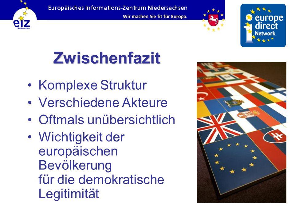 Zwischenfazit Komplexe Struktur Verschiedene Akteure Oftmals unübersichtlich Wichtigkeit der europäischen Bevölkerung für die demokratische Legitimitä
