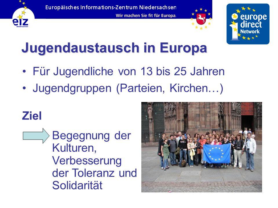 Jugendaustausch in Europa Für Jugendliche von 13 bis 25 Jahren Jugendgruppen (Parteien, Kirchen…) Ziel Begegnung der Kulturen, Verbesserung der Tolera
