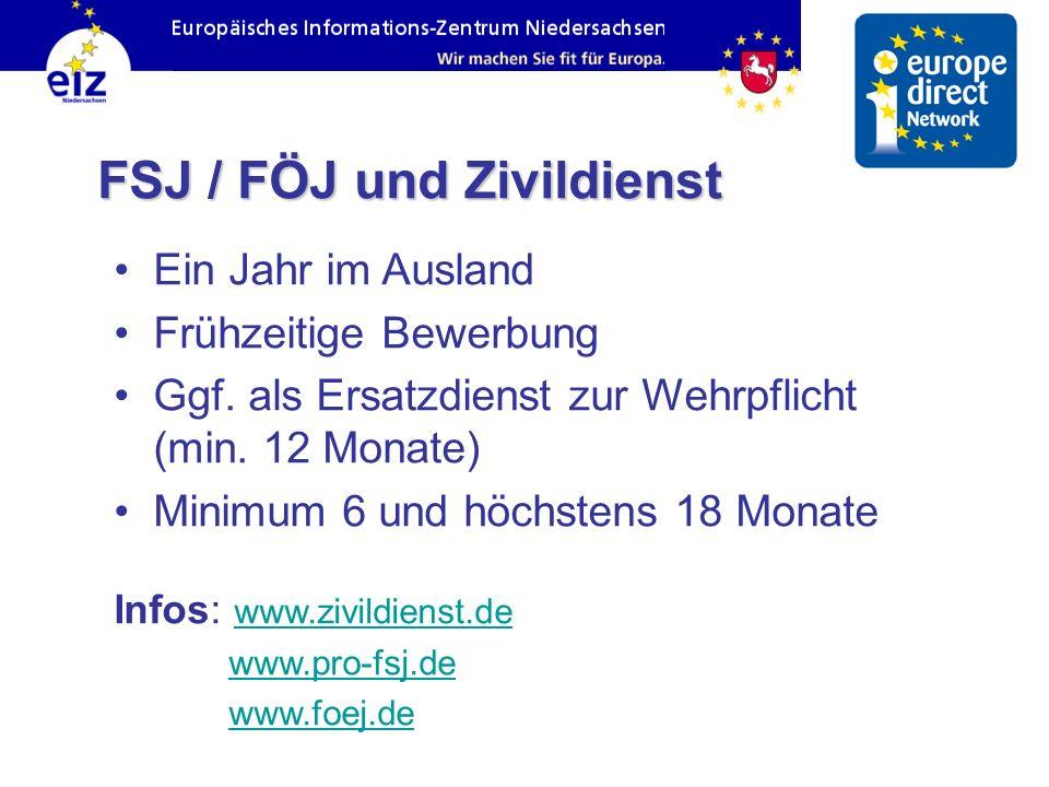 FSJ / FÖJ und Zivildienst Ein Jahr im Ausland Frühzeitige Bewerbung Ggf. als Ersatzdienst zur Wehrpflicht (min. 12 Monate) Minimum 6 und höchstens 18