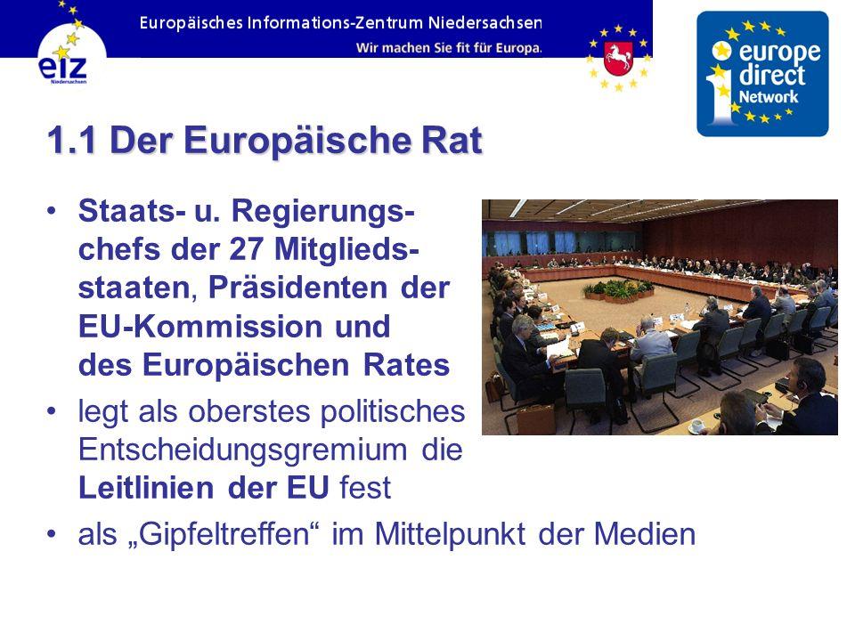 1.1 Der Europäische Rat Staats- u. Regierungs- chefs der 27 Mitglieds- staaten, Präsidenten der EU-Kommission und des Europäischen Rates legt als ober