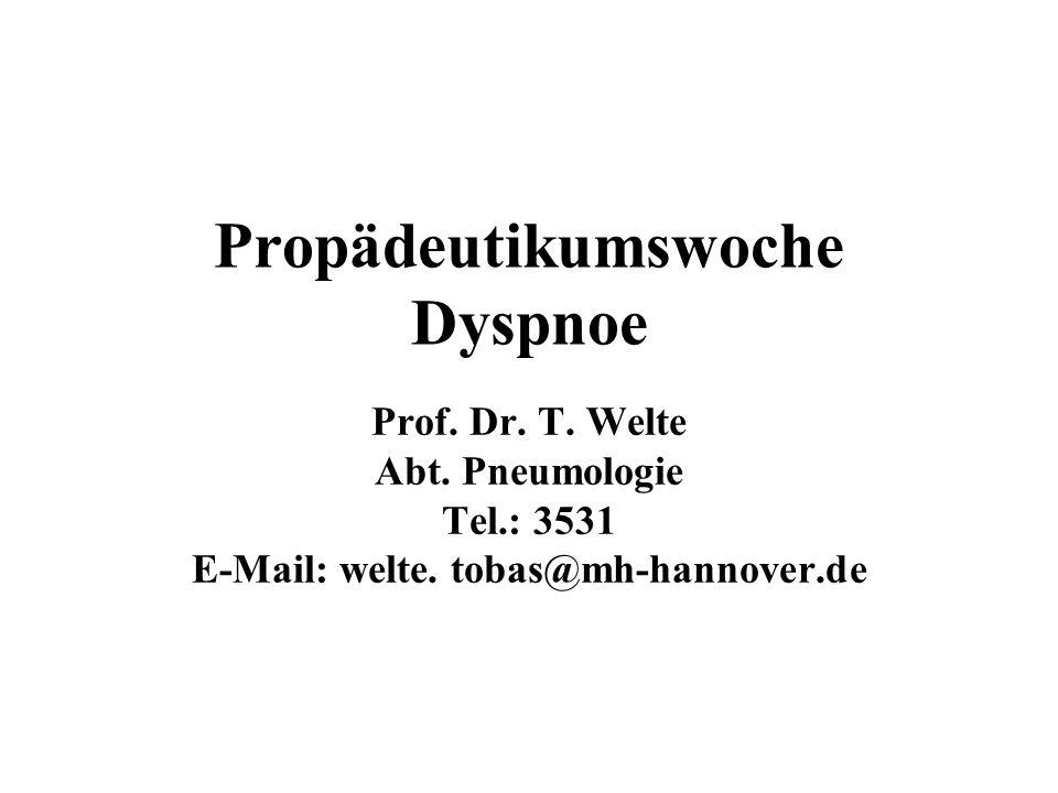 Dyspnoe Diagnostische Möglichkeiten Klinische Zeichen –Atemfrequenz –Dyspnoe-Scores Lungenfunktion –Spirometrie –Bodyplethysmographie Blutgase Belastungs-Test –6-Minuten-Gehtest –Spiroergometrie Kardiologische Diagnostik Radiologische Diagnostik