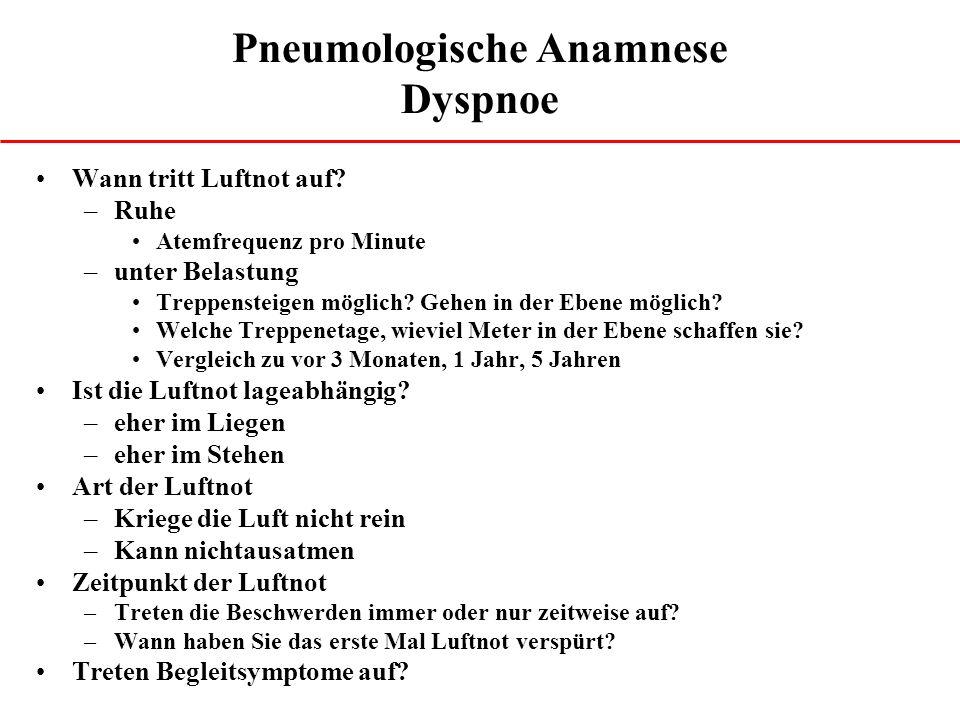 Pneumologische Anamnese Dyspnoe Wann tritt Luftnot auf.