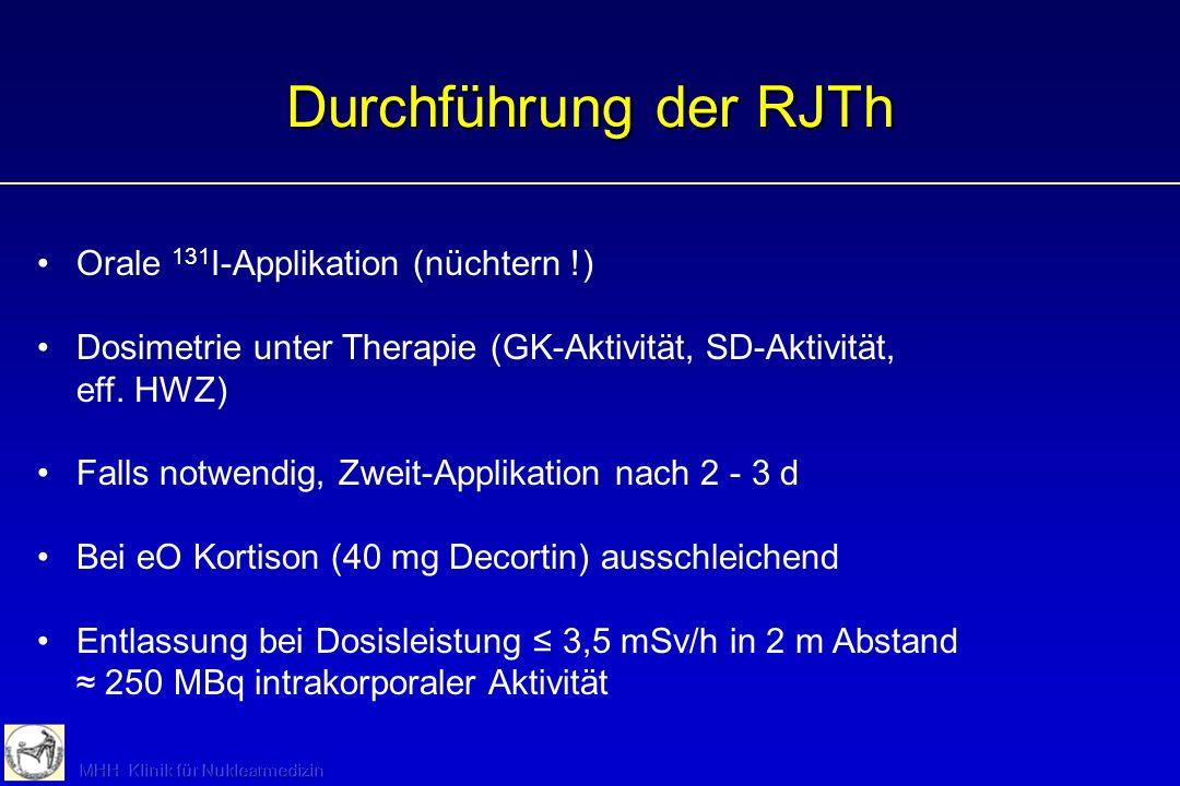 Orale 131 I-Applikation (nüchtern !) Dosimetrie unter Therapie (GK-Aktivität, SD-Aktivität, eff. HWZ) Falls notwendig, Zweit-Applikation nach 2 - 3 d