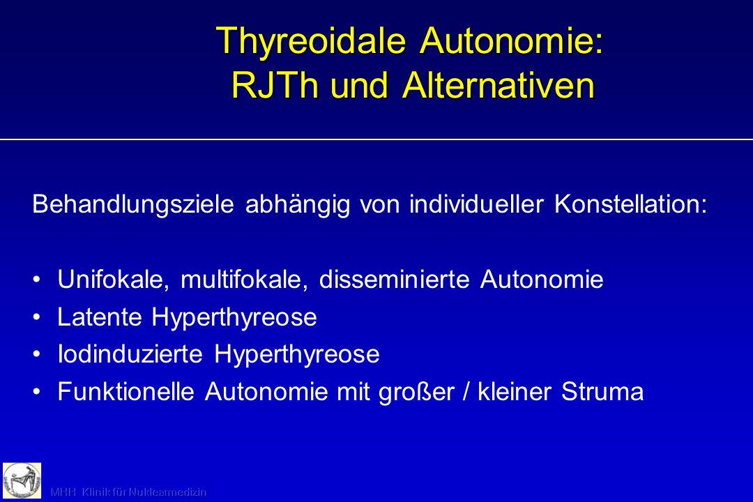 Thyreoidale Autonomie: RJTh und Alternativen Behandlungsziele abhängig von individueller Konstellation: Unifokale, multifokale, disseminierte Autonomi
