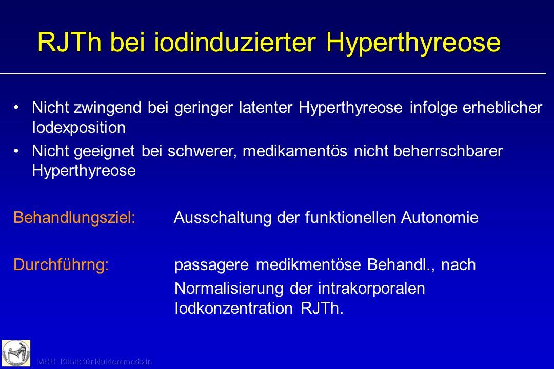 Nicht zwingend bei geringer latenter Hyperthyreose infolge erheblicher Iodexposition Nicht geeignet bei schwerer, medikamentös nicht beherrschbarer Hy