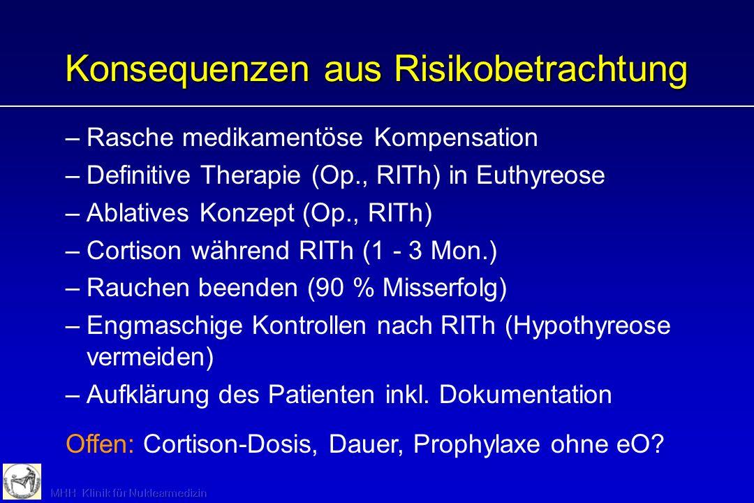 Konsequenzen aus Risikobetrachtung –Rasche medikamentöse Kompensation –Definitive Therapie (Op., RITh) in Euthyreose –Ablatives Konzept (Op., RITh) –C