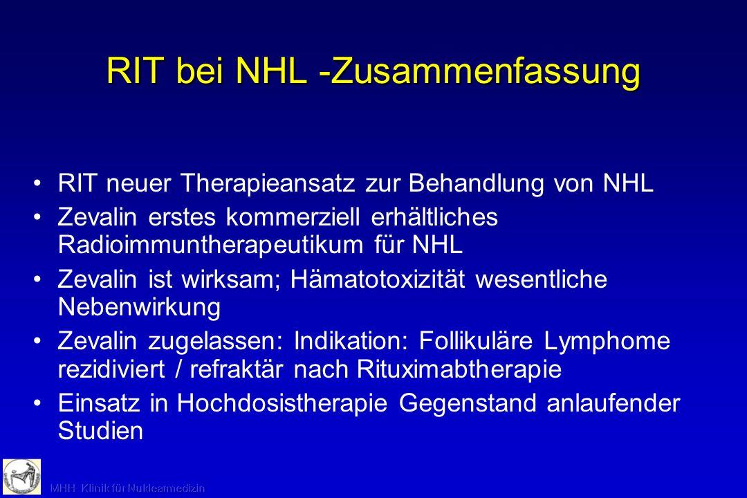RIT bei NHL -Zusammenfassung RIT neuer Therapieansatz zur Behandlung von NHL Zevalin erstes kommerziell erhältliches Radioimmuntherapeutikum für NHL Z