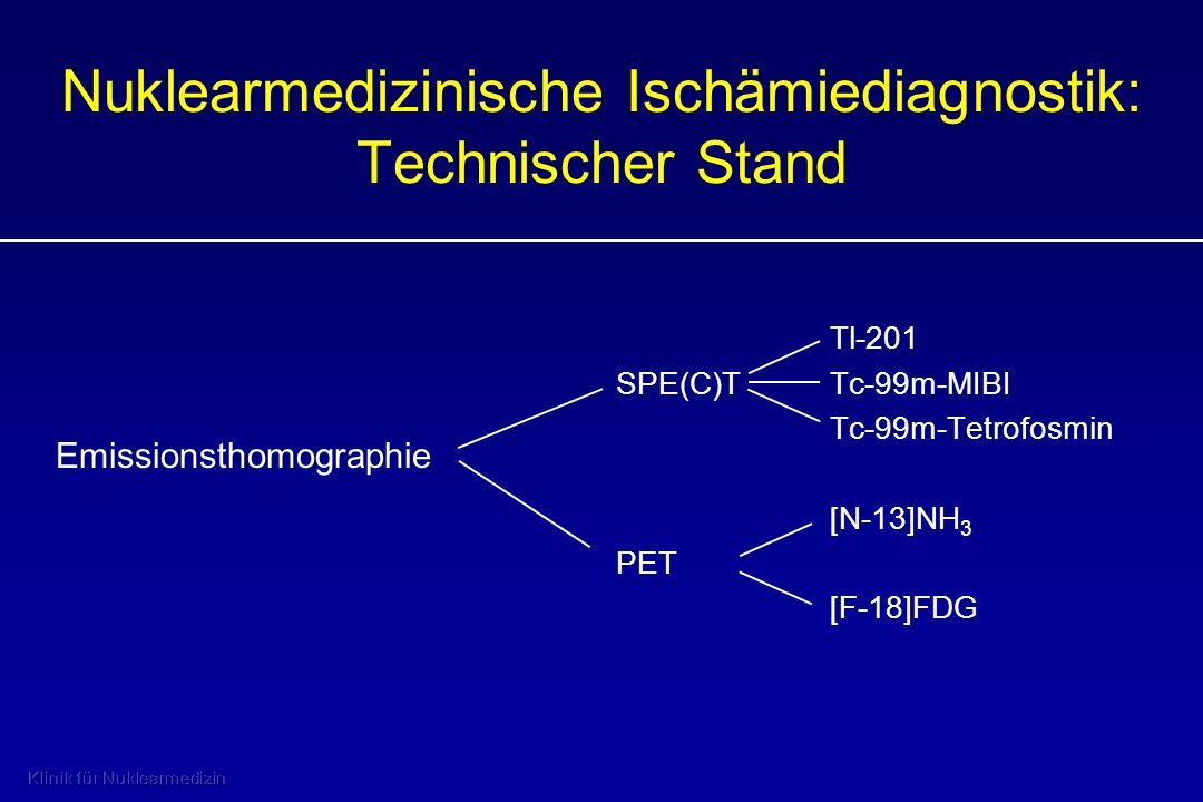 Nuklearmedizinische Ischämiediagnostik: Technischer Stand Tl-201 SPE(C)TTc-99m-MIBI Tc-99m-Tetrofosmin [N-13]NH 3 PET [F-18]FDG Emissionsthomographie