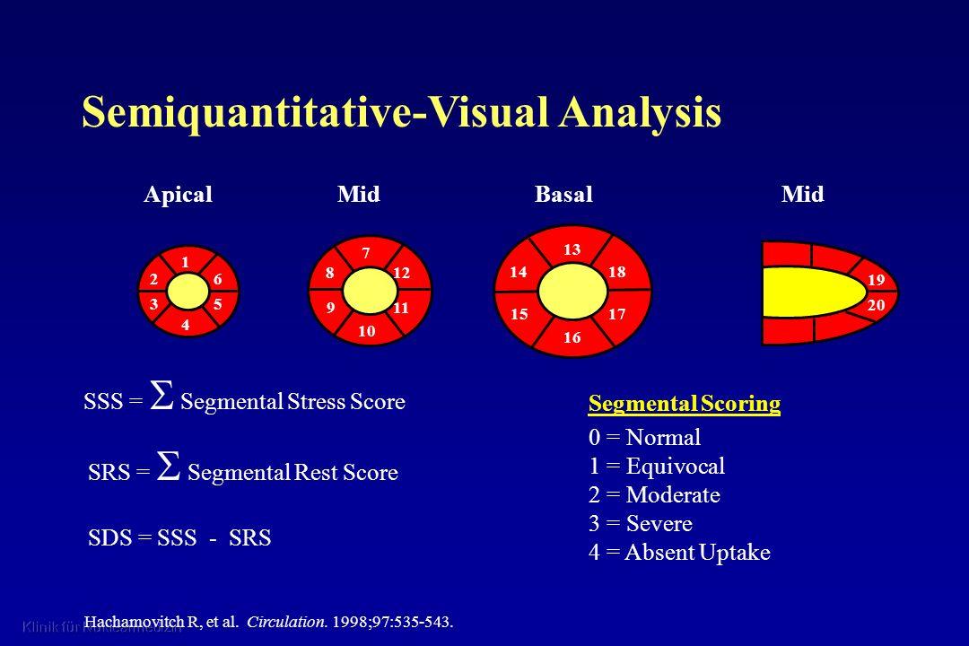Segmental Scoring 0 = Normal 1 = Equivocal 2 = Moderate 3 = Severe 4 = Absent Uptake Hachamovitch R, et al. Circulation. 1998;97:535-543. SSS = Segmen