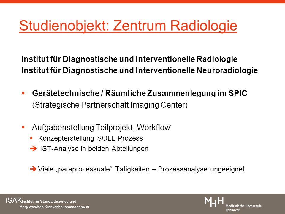 ISAK Institut für Standardisiertes und Angewandtes Krankenhausmanagement Studienobjekt: Zentrum Radiologie Institut für Diagnostische und Intervention