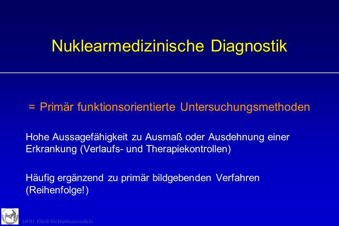 Nuklearmedizinische Diagnostik =Primär funktionsorientierte Untersuchungsmethoden Hohe Aussagefähigkeit zu Ausmaß oder Ausdehnung einer Erkrankung (Ve