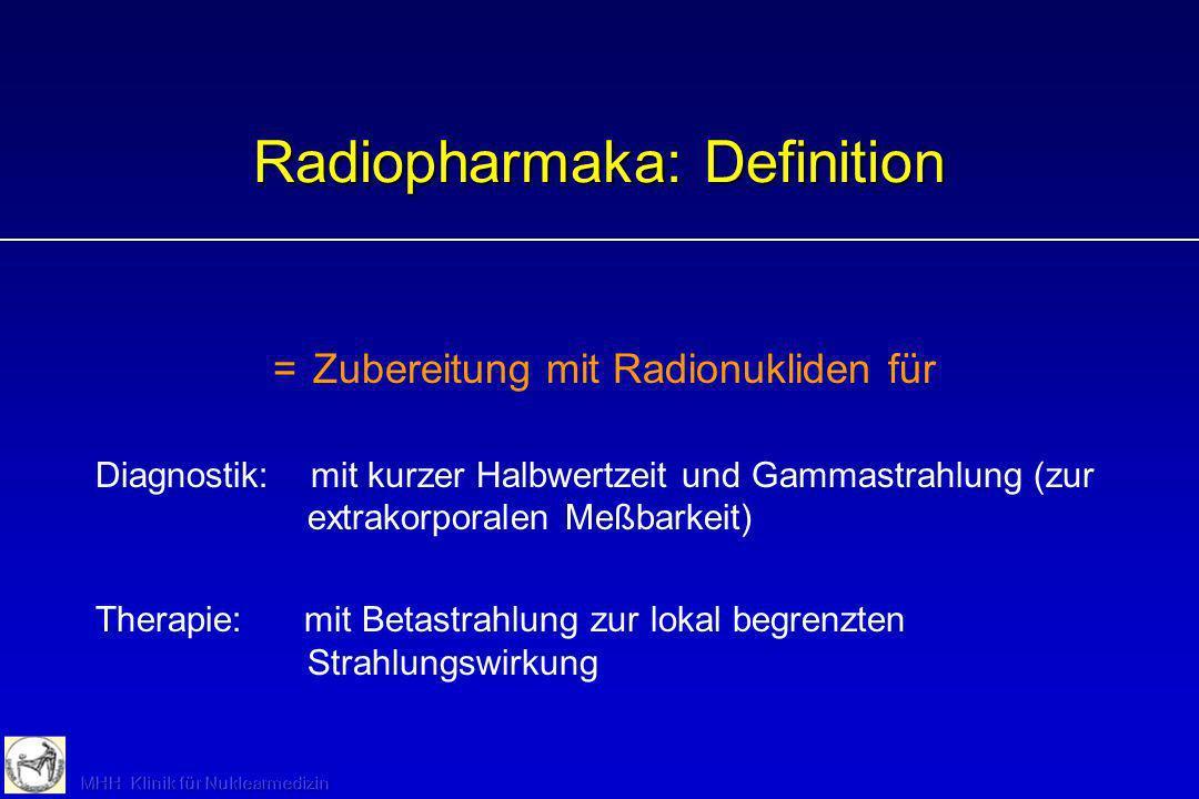 Radiopharmaka: Definition =Zubereitung mit Radionukliden für Diagnostik: mit kurzer Halbwertzeit und Gammastrahlung (zur extrakorporalen Meßbarkeit) T