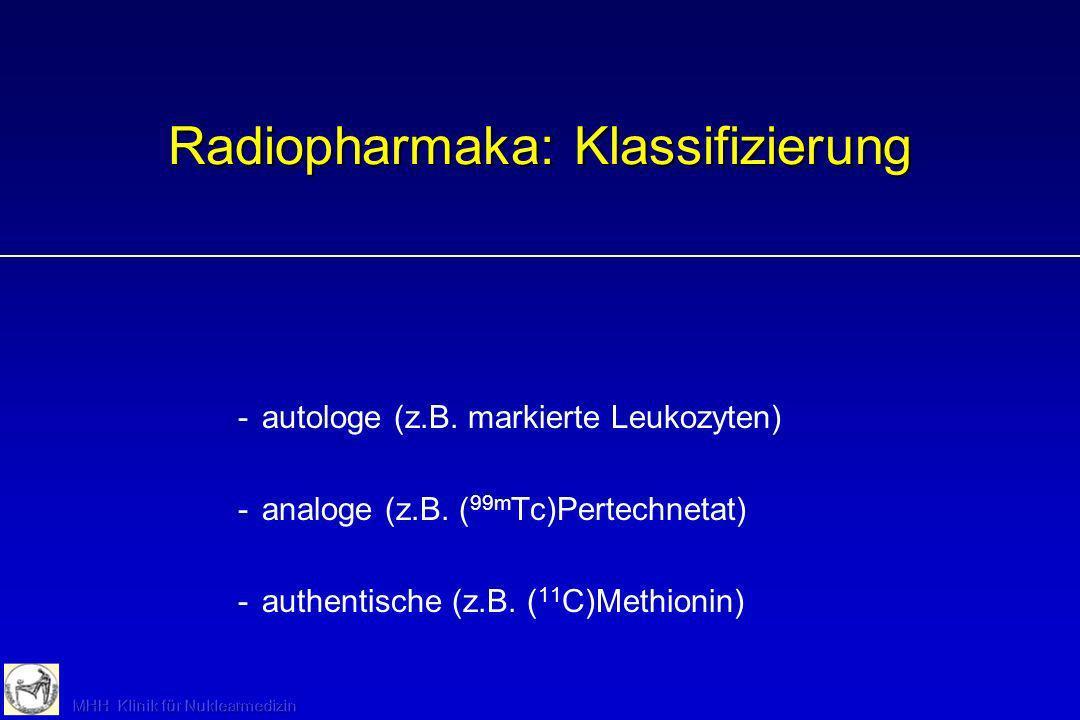 Radiopharmaka: Klassifizierung -autologe (z.B. markierte Leukozyten) -analoge (z.B. ( 99m Tc)Pertechnetat) -authentische (z.B. ( 11 C)Methionin)
