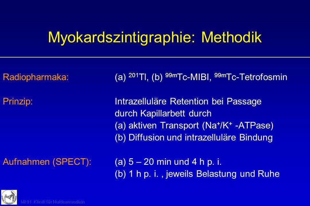 Myokardszintigraphie: Methodik Radiopharmaka:(a) 201 Tl, (b) 99m Tc-MIBI, 99m Tc-Tetrofosmin Prinzip:Intrazelluläre Retention bei Passage durch Kapill