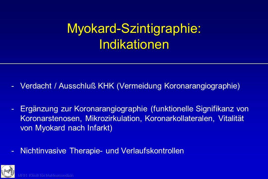 Myokard-Szintigraphie: Alternativen -Belastungs-EKG (primäres Verfahren, aber weniger sensitiv) -Echokardiographie unter Belastung (untersucherabhängig, nicht bei allen Patienten qualitativ ausreichend) -MRT (keine Ergometrie möglich, Prognosewert unter Evaluation)