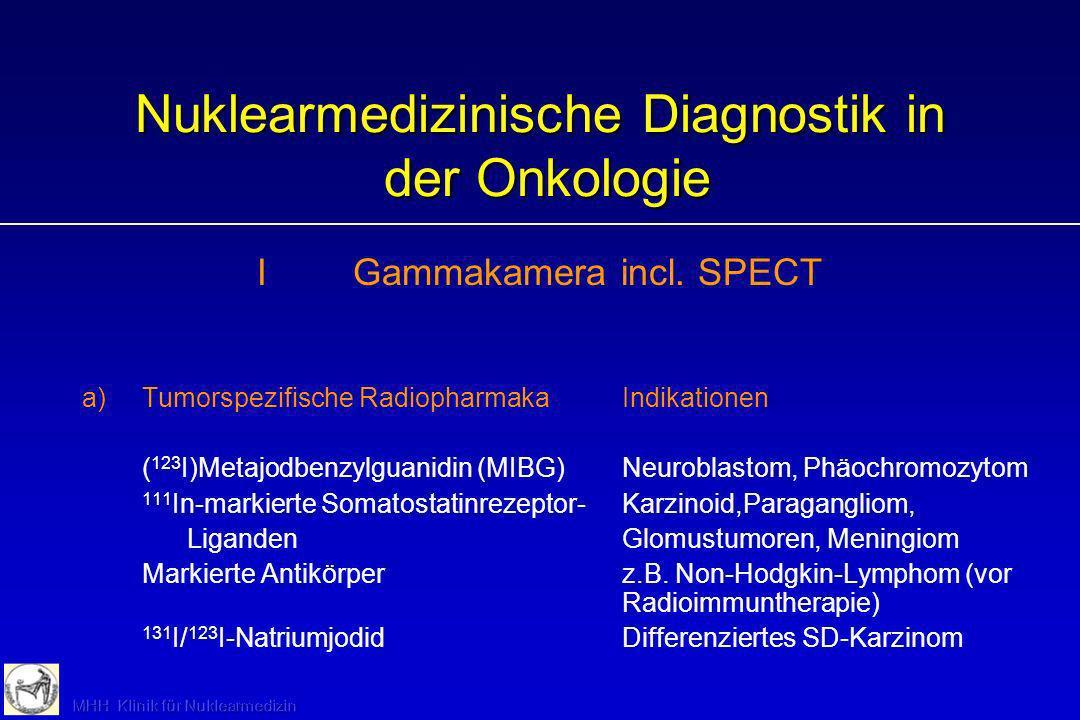 Nuklearmedizinische Diagnostik in der Onkologie IGammakamera incl. SPECT a)Tumorspezifische RadiopharmakaIndikationen ( 123 I)Metajodbenzylguanidin (M