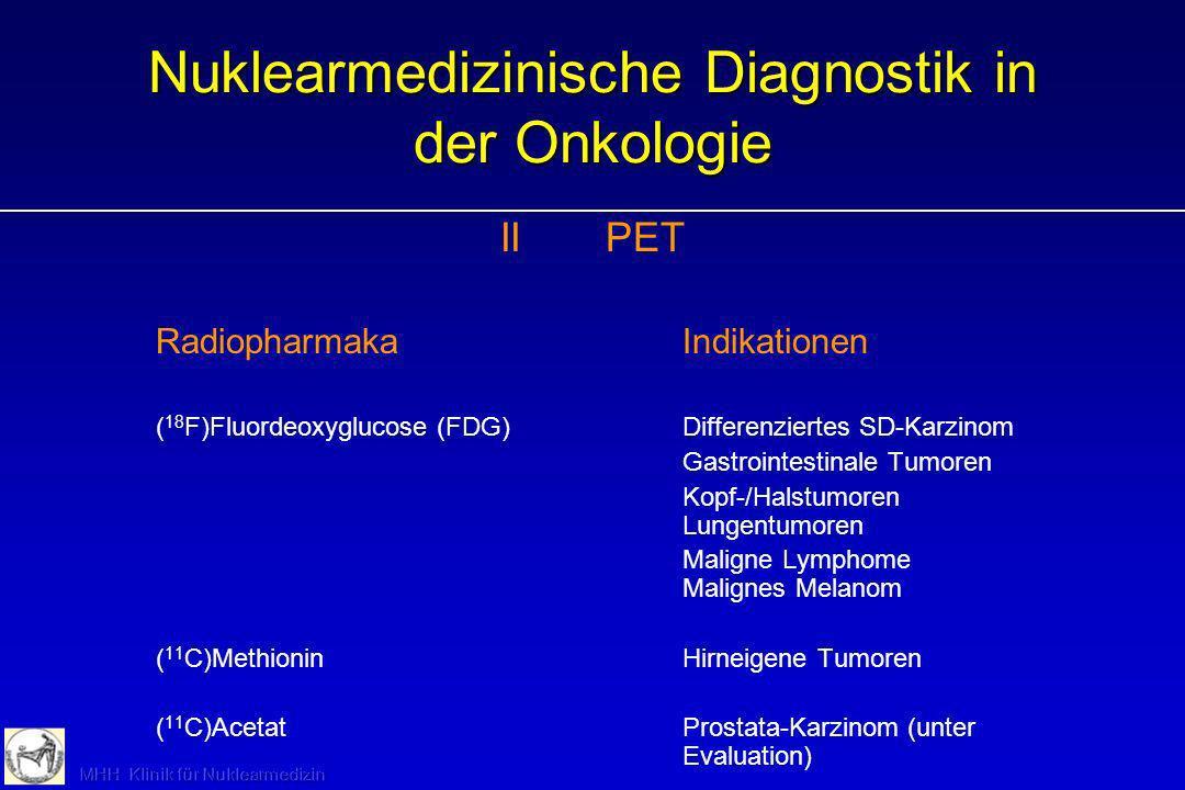 Nuklearmedizinische Diagnostik in der Onkologie IIPET RadiopharmakaIndikationen ( 18 F)Fluordeoxyglucose (FDG) Differenziertes SD-Karzinom Gastrointes