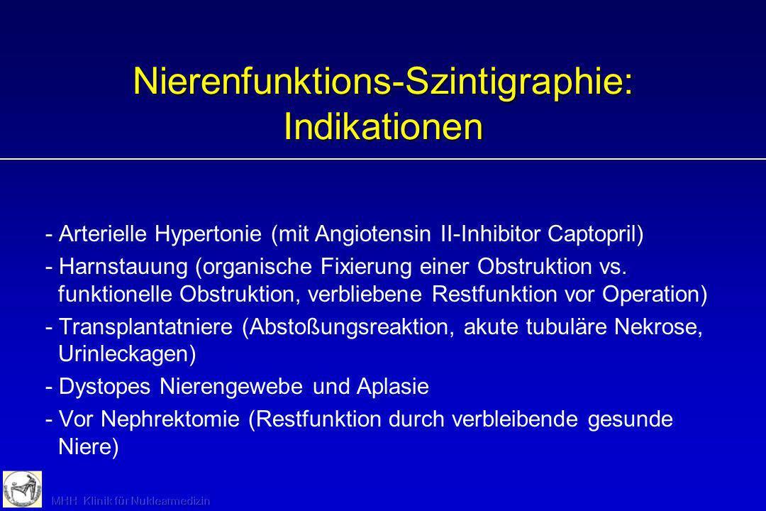 Nierenfunktions-Szintigraphie: Indikationen - Arterielle Hypertonie (mit Angiotensin II-Inhibitor Captopril) - Harnstauung (organische Fixierung einer