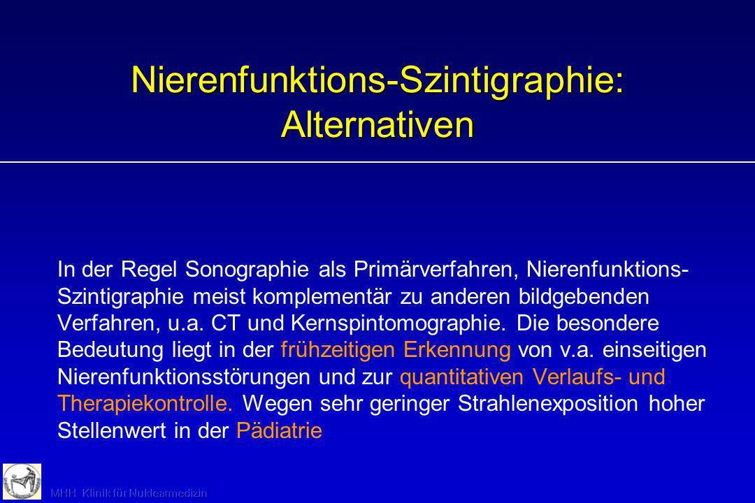Nierenfunktions-Szintigraphie: Alternativen In der Regel Sonographie als Primärverfahren, Nierenfunktions- Szintigraphie meist komplementär zu anderen