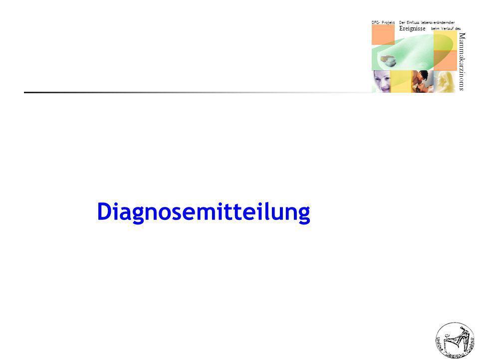 DFG- Projekt Der Einfluss lebensverändernder Ereignisse beim Verlauf des Mammakarzinoms Diagnosemitteilung