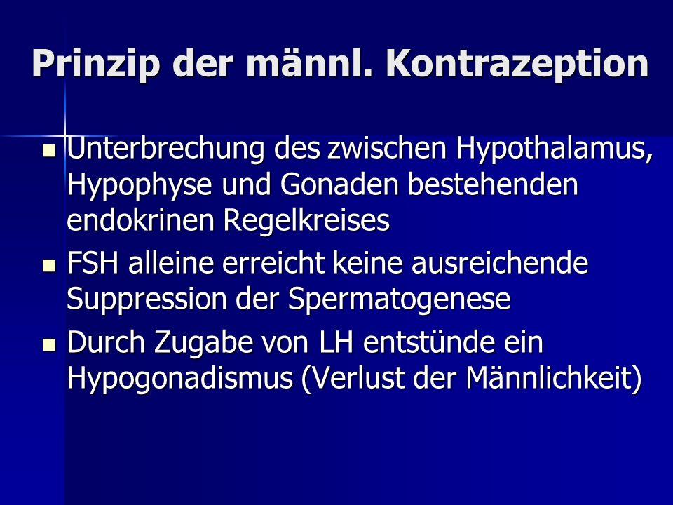 Prinzip der männl. Kontrazeption Unterbrechung des zwischen Hypothalamus, Hypophyse und Gonaden bestehenden endokrinen Regelkreises Unterbrechung des