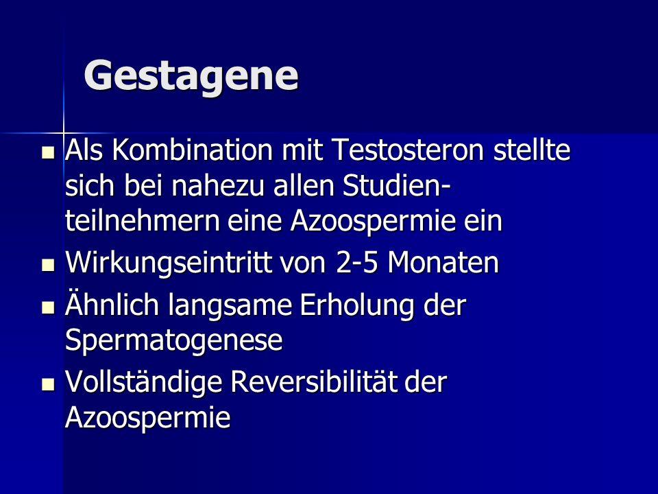 Gestagene Als Kombination mit Testosteron stellte sich bei nahezu allen Studien- teilnehmern eine Azoospermie ein Als Kombination mit Testosteron stel