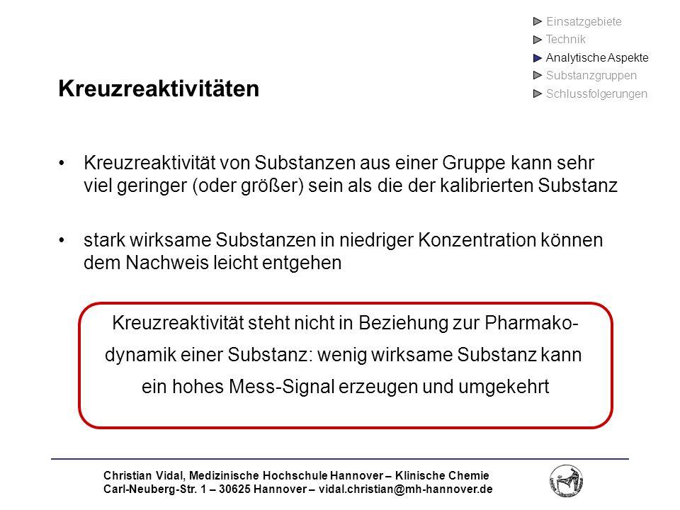 Christian Vidal, Medizinische Hochschule Hannover – Klinische Chemie Carl-Neuberg-Str. 1 – 30625 Hannover – vidal.christian@mh-hannover.de Kreuzreakti