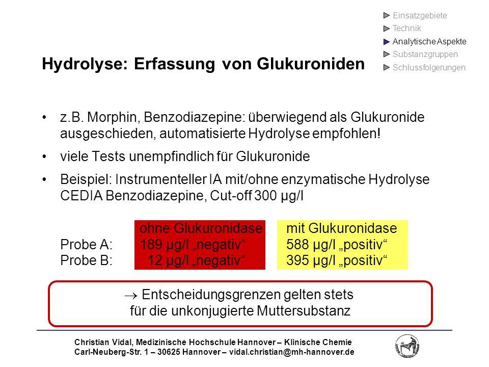 Christian Vidal, Medizinische Hochschule Hannover – Klinische Chemie Carl-Neuberg-Str. 1 – 30625 Hannover – vidal.christian@mh-hannover.de Hydrolyse: