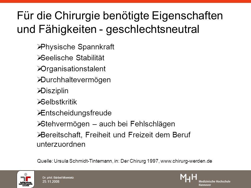 Dr. phil. Bärbel Miemietz 25.11.2008 Für die Chirurgie benötigte Eigenschaften und Fähigkeiten - geschlechtsneutral Physische Spannkraft Seelische Sta