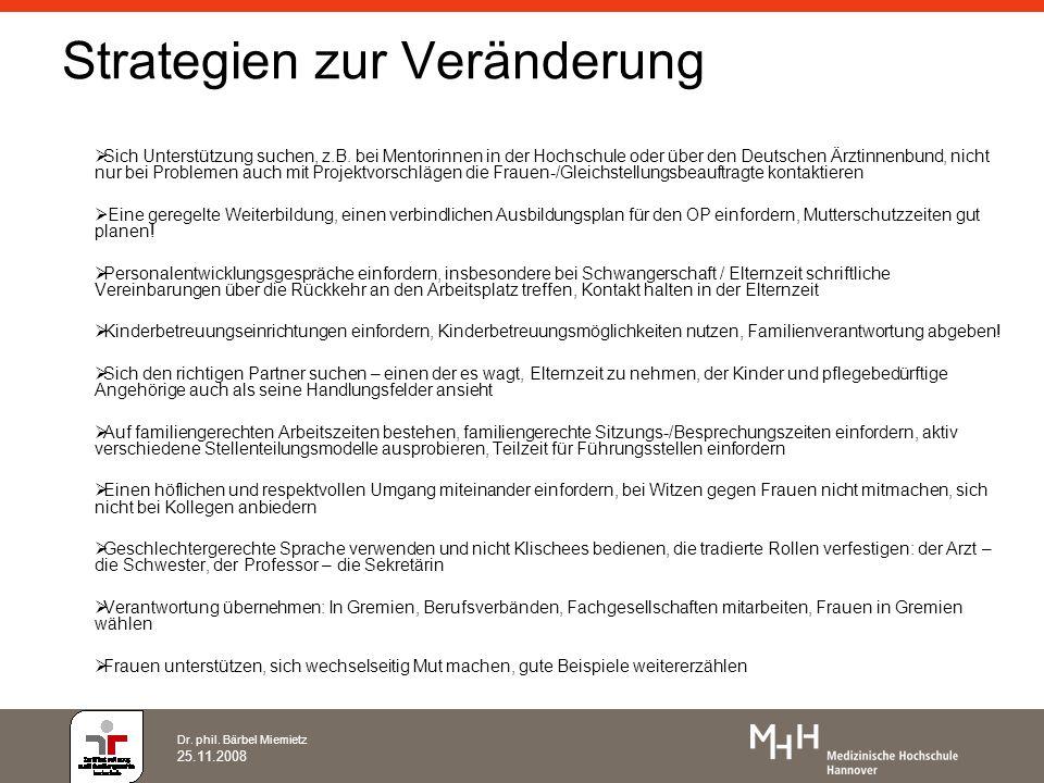Dr. phil. Bärbel Miemietz 25.11.2008 Strategien zur Veränderung Sich Unterstützung suchen, z.B. bei Mentorinnen in der Hochschule oder über den Deutsc